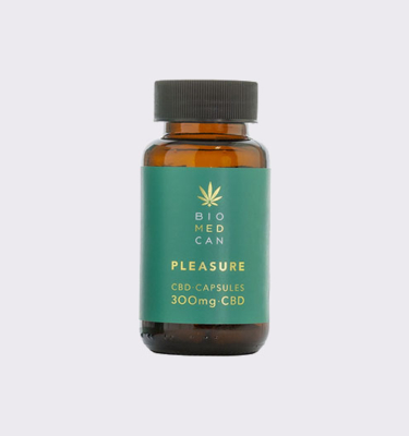 1 biomedcan pleasure cbd capsules 300mg bottle front 1000x1000 1